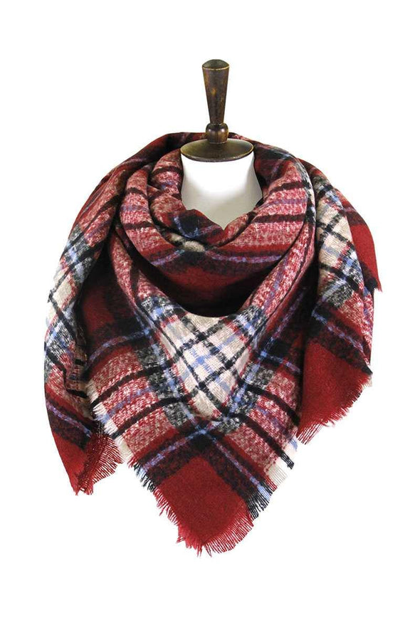 Plaid Square Blanket Scarf - Tokhore