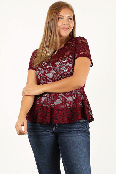 Plus Size Allover Lace, Fitted Top - Tokhore