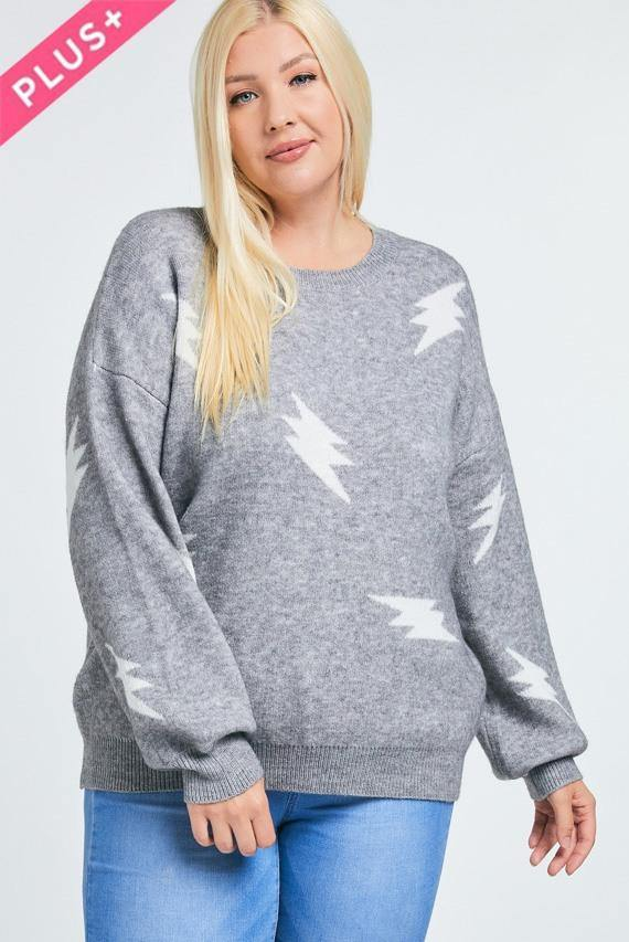 Printed Oversize Knit Sweater - Tokhore