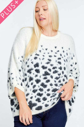 Printed Round Neck Loose Sweater - Tokhore