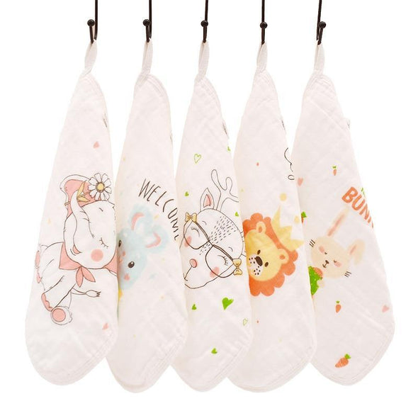 Happyflute 100% Cotton Square Face Towel 5piece/set Muslin Baby Stuff for Newborns Gauze Baby Wipes Wash Cloths - Tokhore