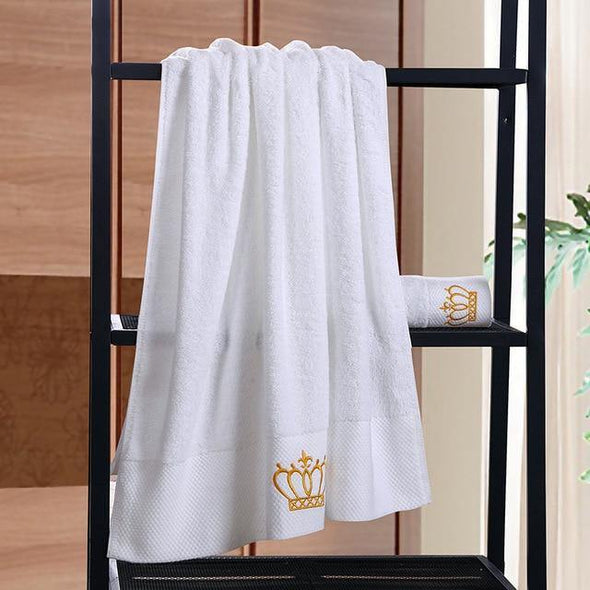 Crown Embroidery Cotton White Hotel Towel Set Face Towels Bath Towels for Adults Washcloths Absorbent Hand Towel Customizable - Tokhore