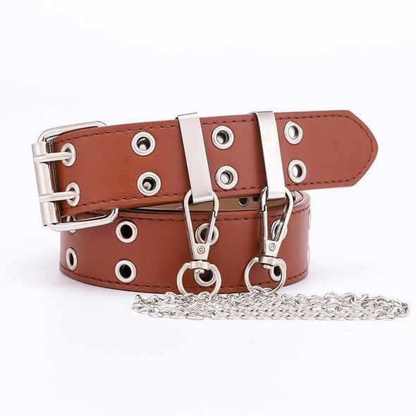 Designer's Famous Brand Leather high Quality Belt Fashion Alloy Double Ring Circle Buckle Girl Jeans Dress Wild Belts - Tokhore
