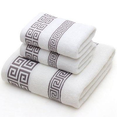 Cotton Towel Set for Adults 2 Face Hand Towel 1 Bath Towel Bathroom Solid Color Blue White Terry Washcloth Travel Sports Towels - Tokhore