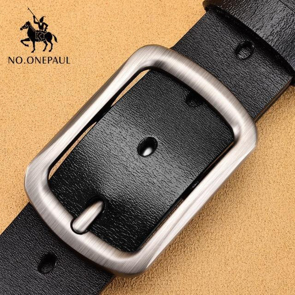 Genuine leather luxury strap male belts for men new fashion classic vintage pin buckle men belt High Quality - Tokhore