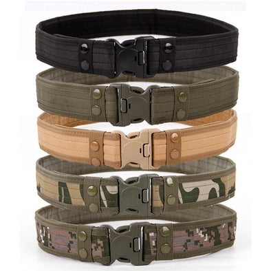 Army Style Combat Belts Quick Release Tactical Belt Fashion Men Canvas Waistband Outdoor Hunting 9Colors Optional 130cm - Tokhore