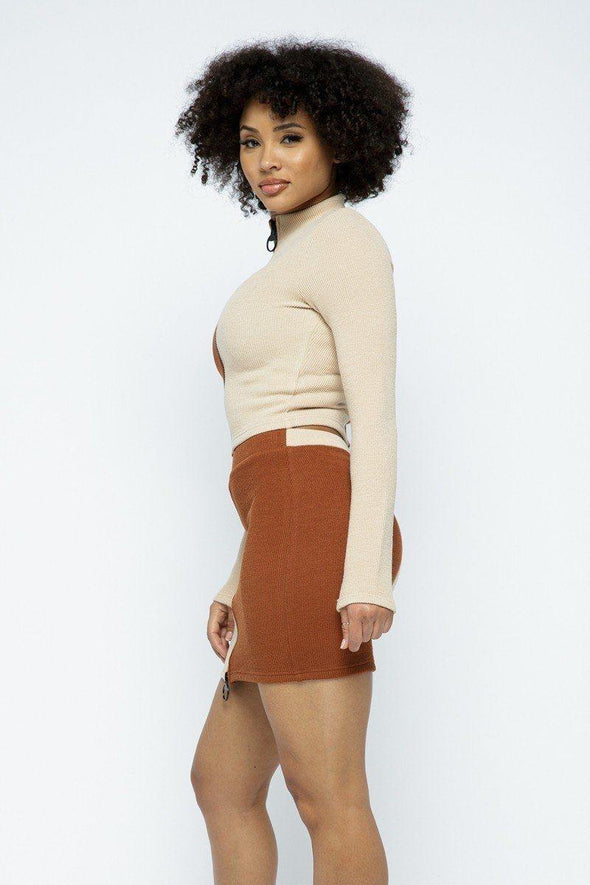 Rib Color Block Mock Neck Long Sleeve High-waist Mini Skirt With Front Zipper Set - Tokhore