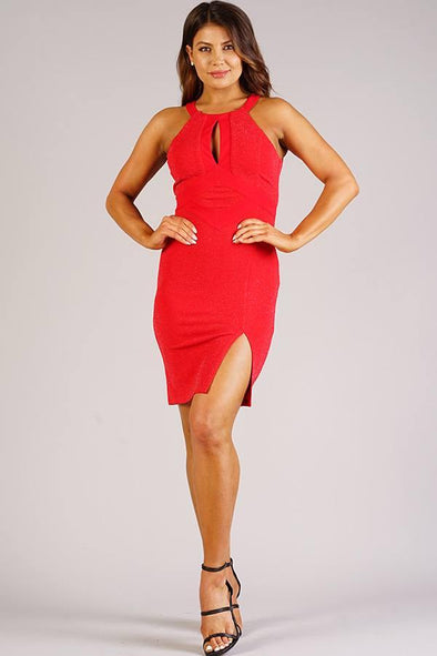 Sexy Holiday Halter Dress With Keyhole Detail - Tokhore