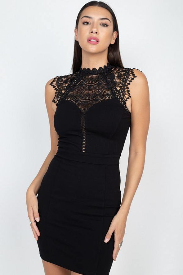 Sleeveless Lace Mini Dress - Tokhore