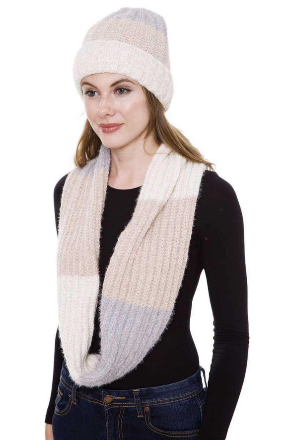 Stripe Pattern Infinity Scarf And Knit Hat Set - Tokhore