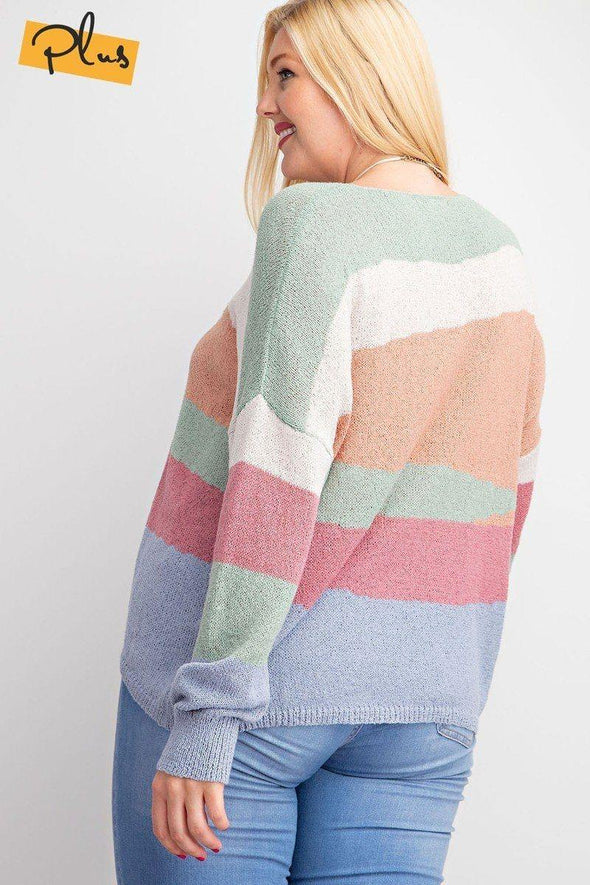 Striped Light Weight Knitted Sweater Top - Tokhore