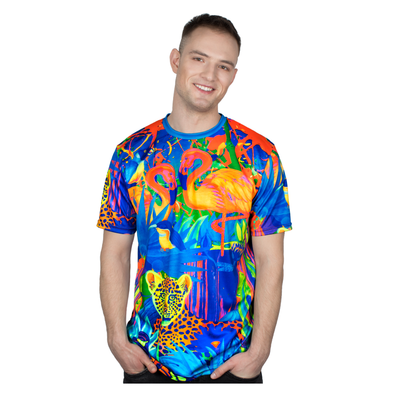 Print Tshirt Design Glow in UV Fluorescent Lion Jungle - Tokhore