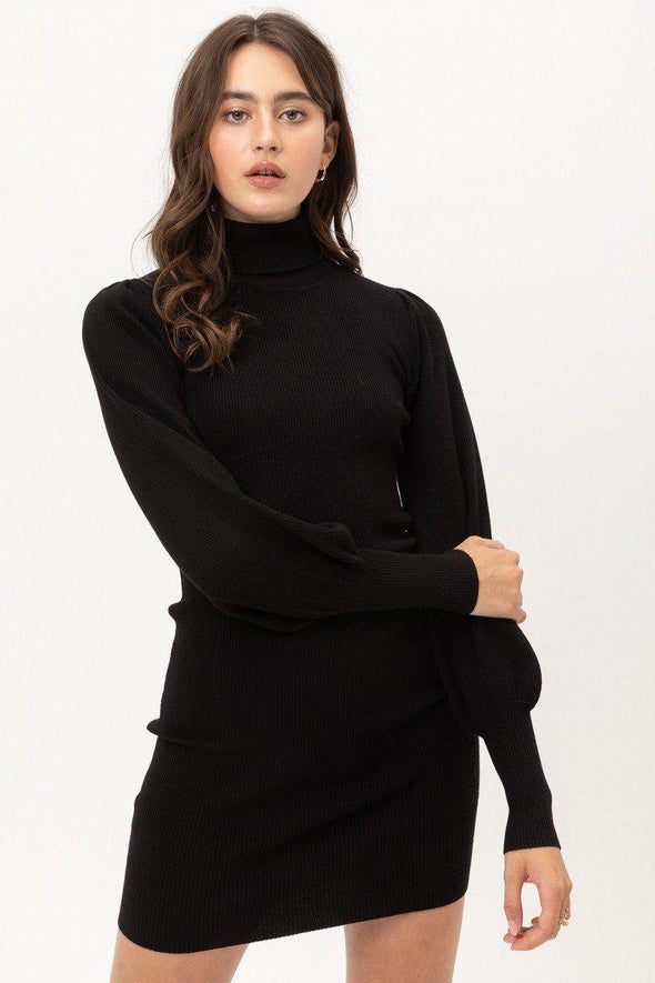 Turtle Neck Sweater Dress - Tokhore