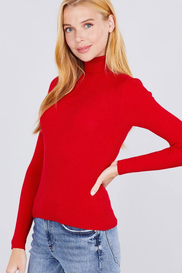 Turtle Neck Viscose Rib Sweater - Tokhore