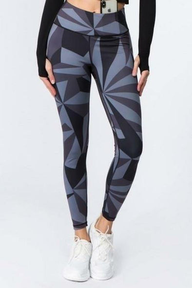 Women's Active High Rise Geo Print Workout Leggings (S-L) - Tokhore