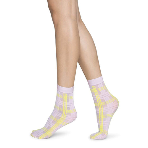 Pink and Yellow Sheer Fashion Socks