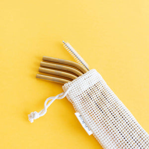 Gold Stainless Steel Reusable Straws - 4-pack