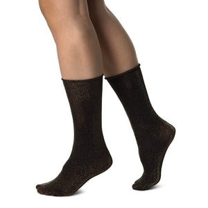 Shimmery Black and Gold Sheer Fashion Socks