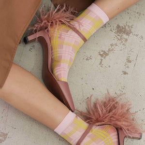 Swedish Stockings Greta Pink and Yellow Socks