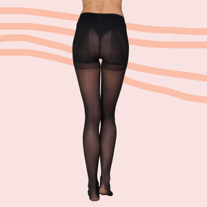 High Waisted Control Top Black Stockings