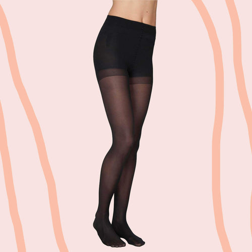 Anna Control Top Stockings - Black 40 Denier