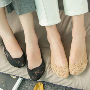 Cotton Lace Low Cut Socks  ( 4 pair set )