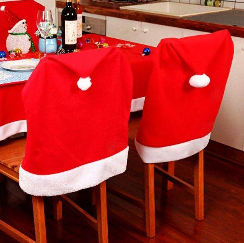Santa Hat Christmas Chair Cover 4pcs
