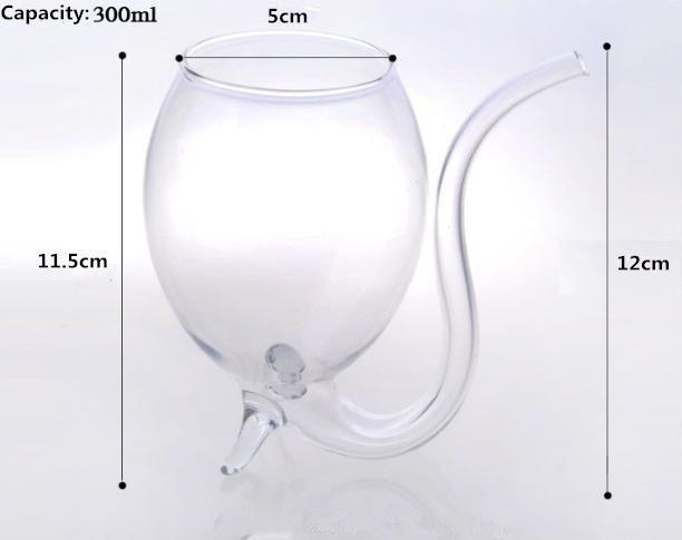 Wine Glass With Tube Straw