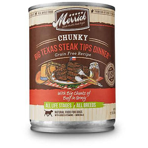 Merrick Chunky Grain-Free Big Texas Steak Tips Dinner Canned Dog Food