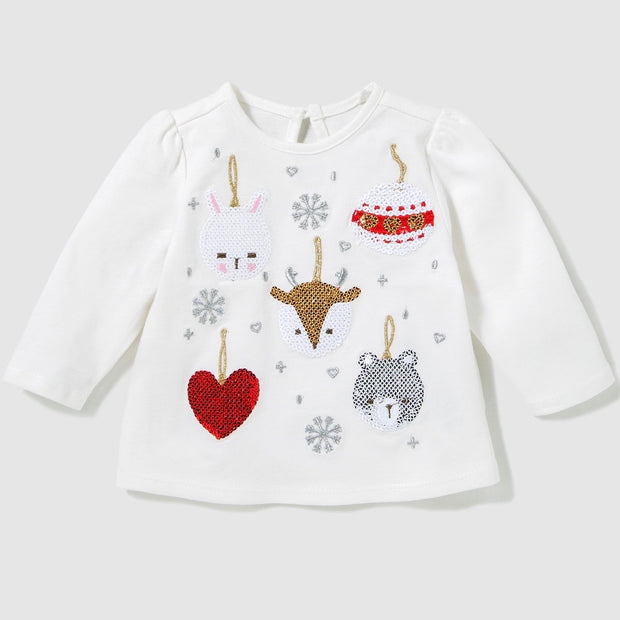 Baby Girl Xmas Sequin Shirt. Off-white.