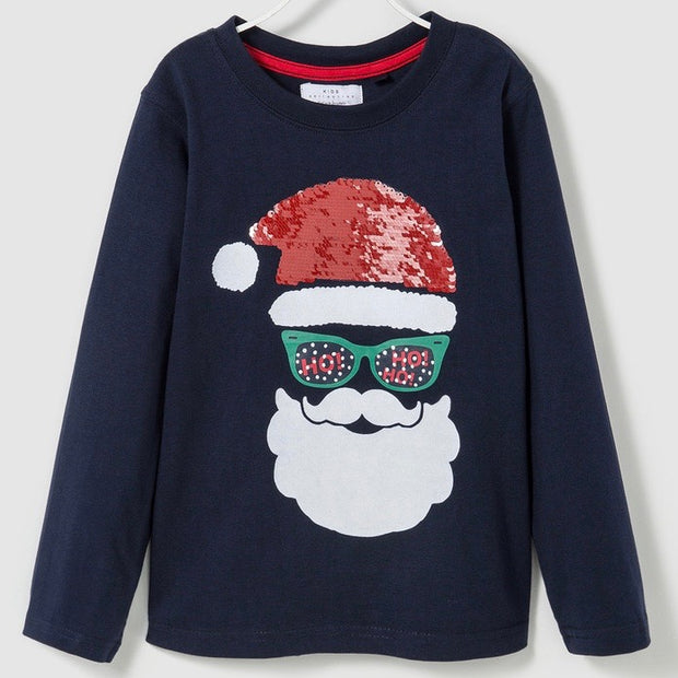 Boy's Santa Clause flip sequin shirt. Navy Blue.