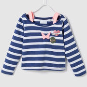Girl's Off-Shoulder Active Shirt. Navy Blue & White striped.