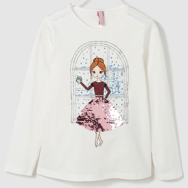Girl's Balerina Flip Sequin long sleeve shirt.