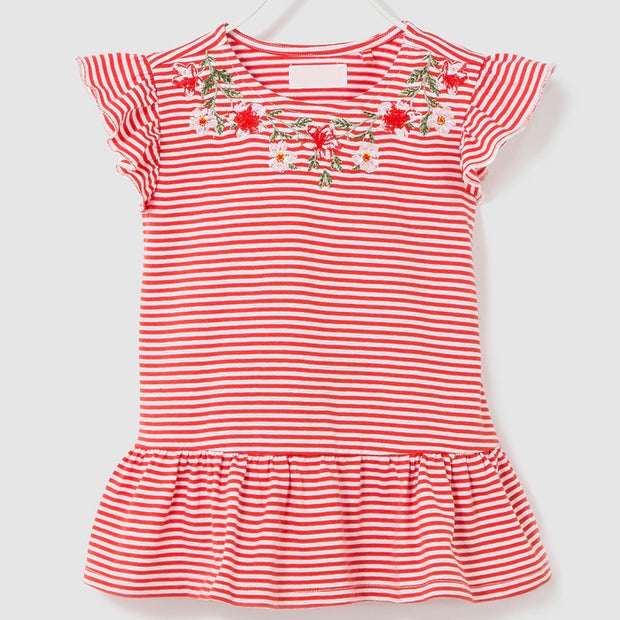 Girls Striped Top. Red.