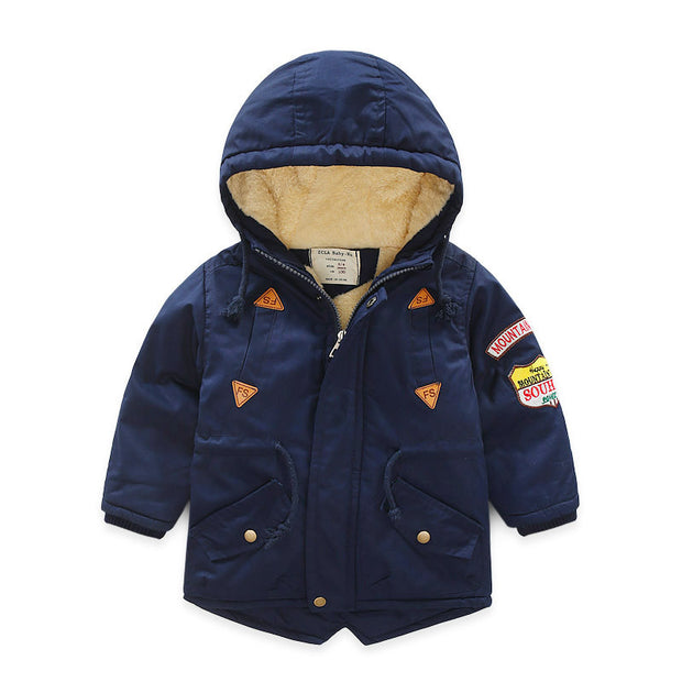 Plush padded warm Jacket for Boys. Navy Blue.