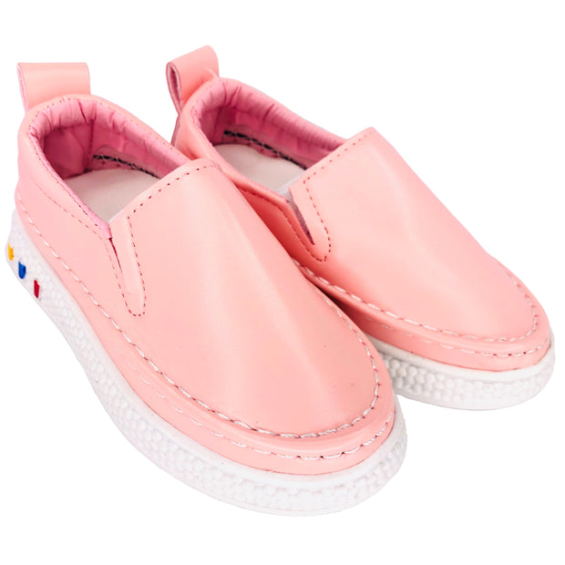 Girl's Faux Leather Slip On Summer Flats. Pink.