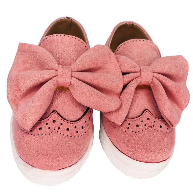 Girl's Suede Slip On Shoes with Bow detail. Pink.