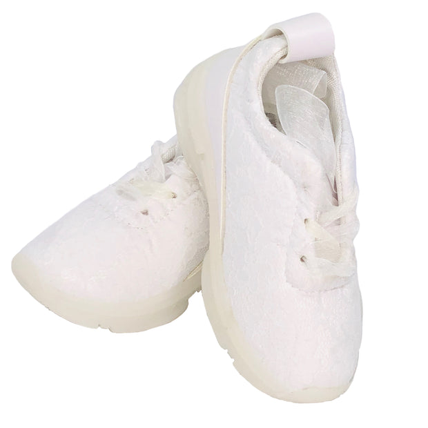 Girl's Lace Sneakers with organza. White.