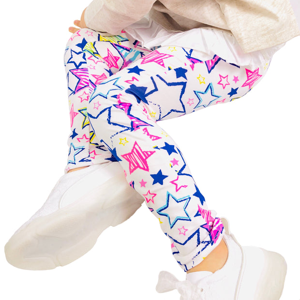 Girl Blue Star Print super soft Summer Leggings. White