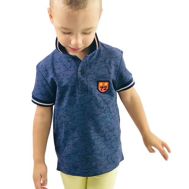 Boy's Blue Shark Polo Shirt