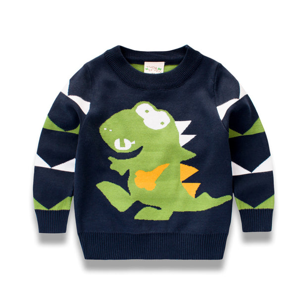Boys Dino knitted warm winter Sweater. Navy Blue.