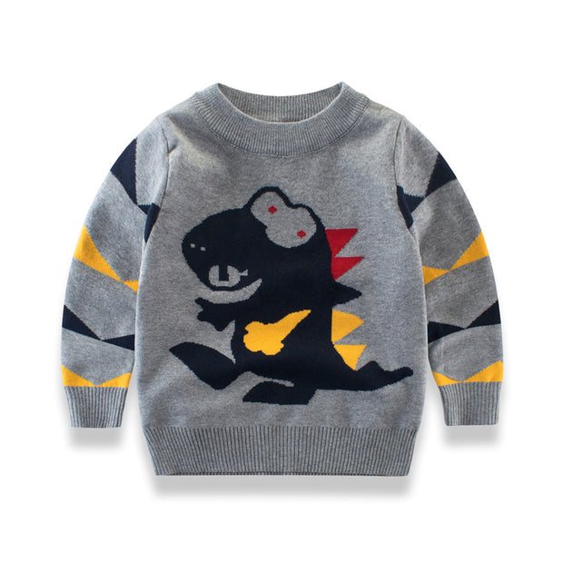 Boys Dino knitted warm winter Sweater. Gray.