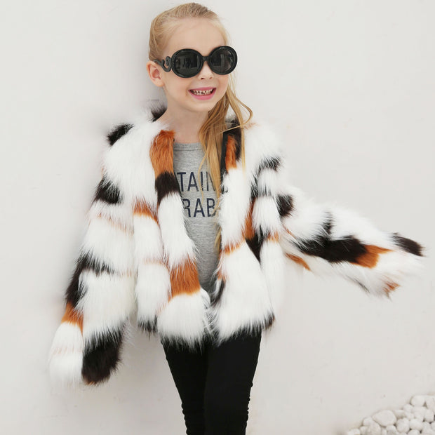 White Faux Fur Coat for Girls