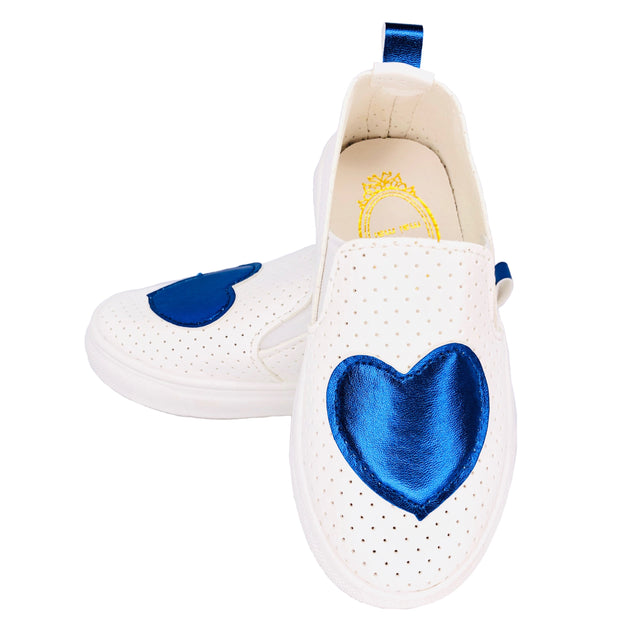 Girl's Summer Slip On Flats. Blue