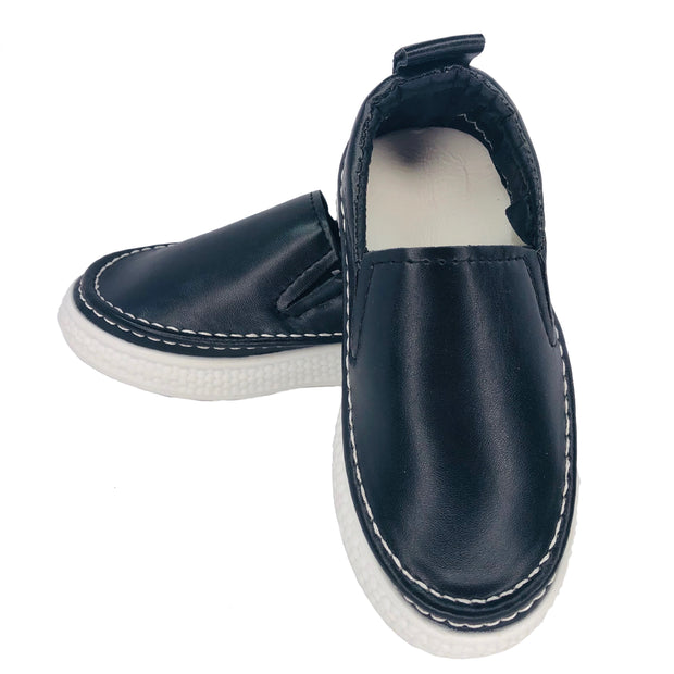 Unisex Faux Leather Slip On Summer Flats. Black.