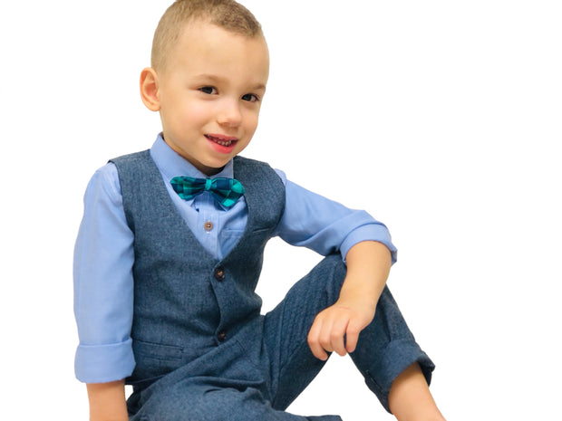 Boy's 4 PCS Elegant formal Outfit. Blue & Grey