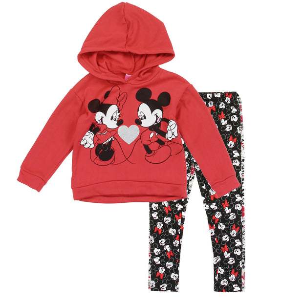 Mickey & Minnie Mouse Girls 2PC Fleece Hoodie and Leggings Set