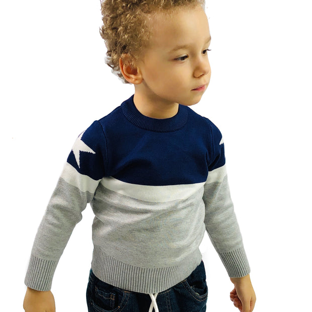 Boys Star Stripe - Crew Neck knitted sweater