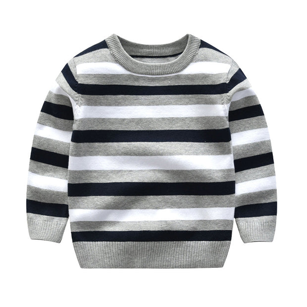Stripe & Stripes - Knitted Sweater. Grey.