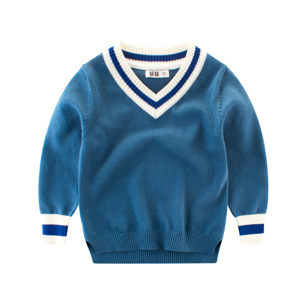 Boys V-neck high-low knitted Sweater